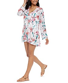 Flyaway Orchid Printed V-Neck Tunic Swim Cover-Up