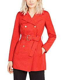 Belted Sateen Trench Coat, Regular & Petite