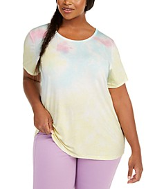 Plus Size Tie-Dye Back-Cutout Top