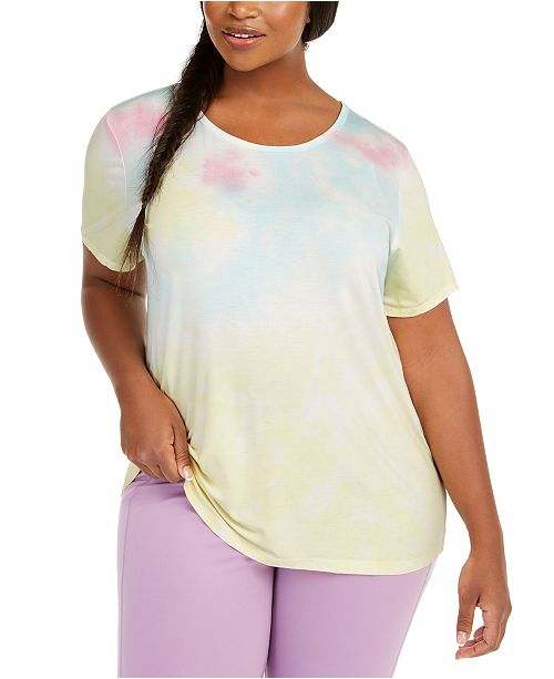 Ideology Plus Size Tie-Dye Back-Cutout Top