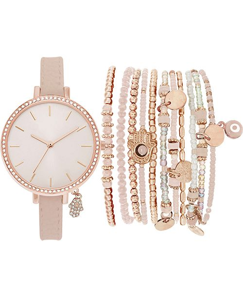 Jessica Carlyle Women's Blush Faux Leather Strap Watch 34mm Gift Set