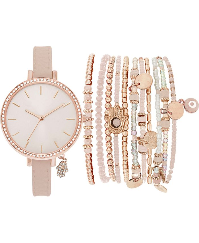 Jessica Carlyle - Women's Blush Faux Leather Strap Watch 34mm Gift Set