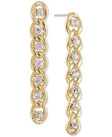 Gold-Tone Crystal & Chain-Link Linear Drop Earrings