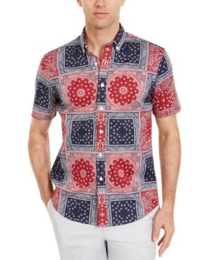 Men's Patchwork Bandana-Print Shirt