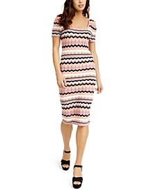 Juniors' Chevron Midi Sweater Dress