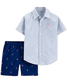 Toddler Boys 2-Pc. Cotton Striped Shirt & Flamingo-Print Shorts Set