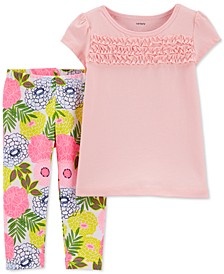 Toddler Girls 2-Pc. Ruffle-Trim T-Shirt & Floral-Print Leggings Set