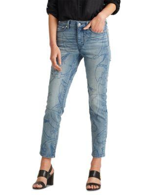 로렌 랄프로렌 Lauren Ralph Lauren Premier Straight Ankle Jeans,Worn Indgo