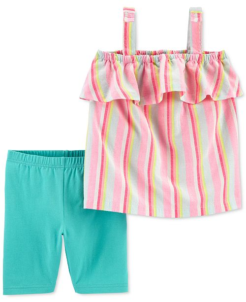 Carter's Little & Big Girls 2-Pc. Striped Tank Top & Bike Shorts Set