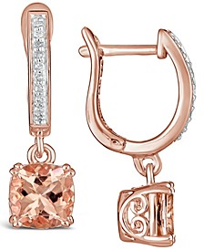 Morganite (2-1/2 ct. t.w.) and Diamond (1/10 ct. t.w.) Drop Earrings in 14K Rose Gold-Plated Sterling Silver