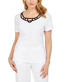 Cotton Lattice-Trim Top, Created for Macy's