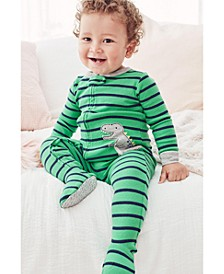 Baby Boys Striped Dinosaur Footed Pajamas