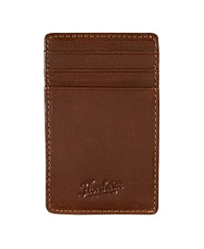 Leather-Wrapped Magnetic Money Clip Card Case