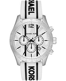 Men's Chronograph Layton Black Logo & White Croco Silicone Strap Watch 44mm