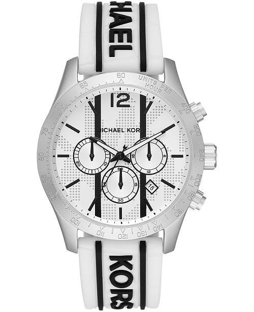 Michael Kors Men's Chronograph Layton Black Logo & White Croco Silicone Strap Watch 44mm