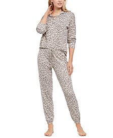 Jenni Printed Lace-Up Hoodie & Pants Pajama Set, Created for Macy's