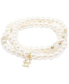 Gold-Tone Logo-Charm Imitation Pearl Coiled Stretch Bracelet