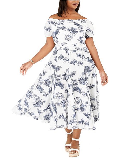 INC International Concepts INC Plus Size Printed Off-The-Shoulder Fit & Flare Dress, Created for Macy's