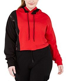 Trendy Plus Size French Terry Cropped Hoodie