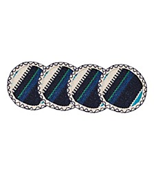 CLOSEOUT! Set of 4 Blue Striped Woven Cotton Coasters