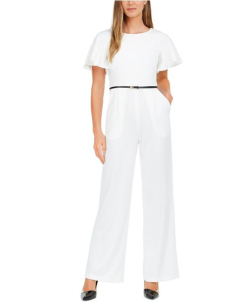 Calvin Klein Belted Cape-Sleeve Jumpsuit