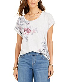 Floral-Print Cuffed-Sleeve Top, Created For Macy's