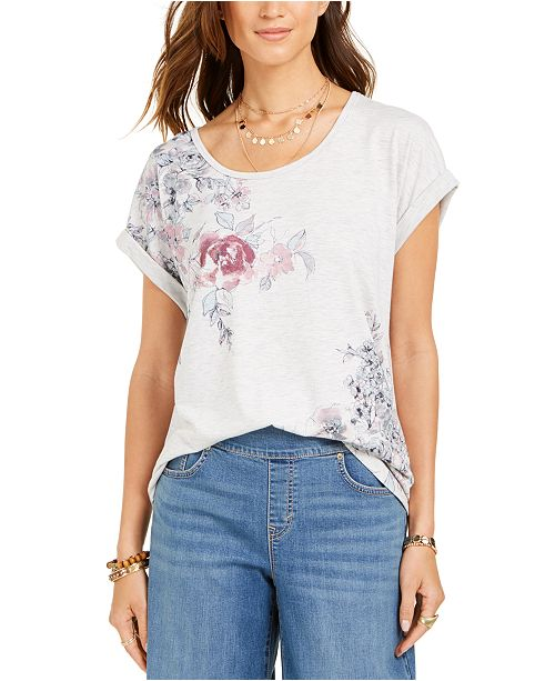 Style & Co Floral-Print Cuffed-Sleeve Top, Created for Macy's