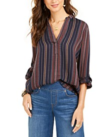 Petite Striped Cuffed-Sleeve Top, Created for Macy's