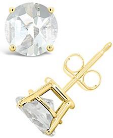 White Topaz (3 ct. t.w.) Stud Earrings in 14K Yellow Gold