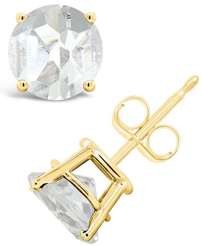 Macy's - White Topaz (3 ct. t.w.) Stud Earrings in 14K Yellow Gold
