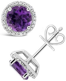 Round-cut Gemstone and Diamond (1/6 ct. t.w.) Stud Earrings in Sterling Silver