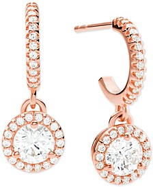 Sterling Silver Cubic Zirconia Halo Charm Hoop Earrings