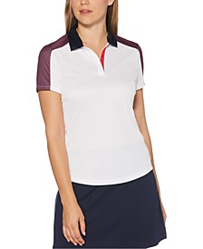 Print-Blocked Golf Polo