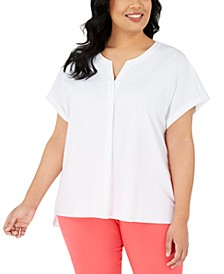 Plus Size Split-Neck Short-Sleeve Top, Created for Macy's