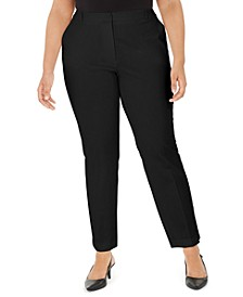 Plus Size Fly-Front Slim Pants, Created for Macy's