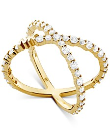 Sterling Silver Cubic Zirconia Crisscross Logo Ring