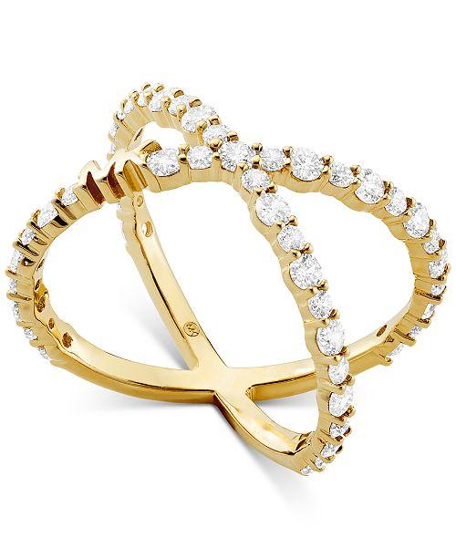 Michael Kors Sterling Silver Cubic Zirconia Crisscross Logo Ring