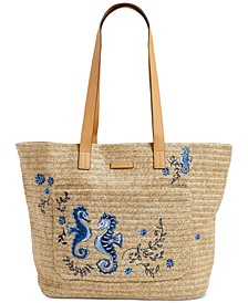 Front Pocket Straw Tote