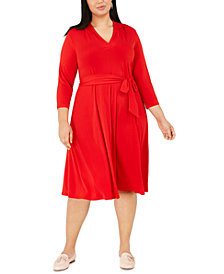 Charter Club Plus Size V-Neck Belted Dress, Created for Macy's