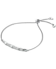 Sterling Silver Pavé Pyramid Bar Slider Bracelet