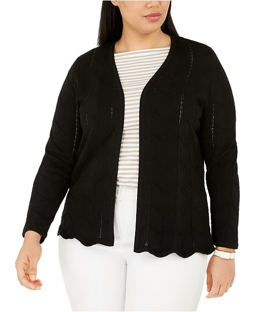 Charter Club Plus Size Open-Front Chevron-Knit Cardigan, Created for Macy's