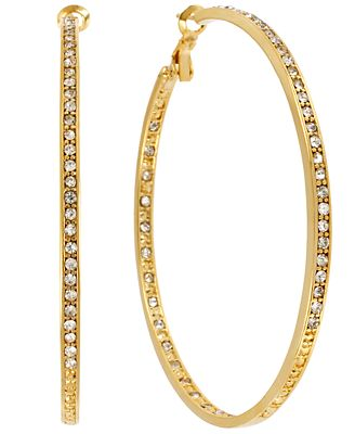 Hint of Gold Crystal Hoop Earrings in 14k Gold-Plated Brass, 70mm