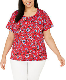 Karen Scott Plus Size Printed Scoop-Neck T-Shirt, Created for Macy's