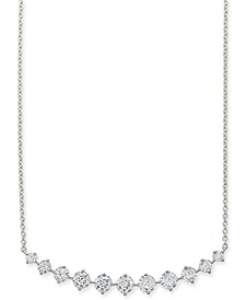 "Silver-Tone Crystal Curved Bar Statement Necklace, 15"" + 2"" extender, Created for Macy's"