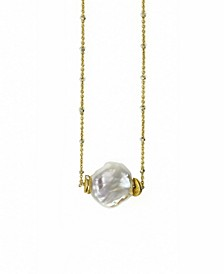 14k Gold Filled Delicate Diamond Cut Chain with a Single Natural Keshi Pearl