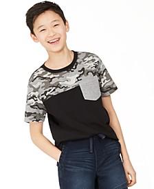 Big Boys Camo Colorblocked Pocket T-Shirt, Created for Macy's
