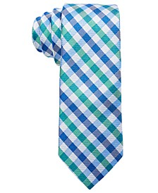 Big Boys Green Gingham Check Silk Tie