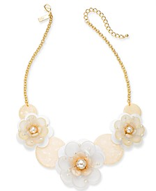 "INC Gold-Tone Imitation Pearl Sequin Flower Statement Necklace, 18"" + 3"" extender, Created for Macy's"