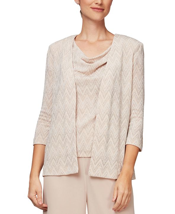 Alex Evenings Geometric-Print Jacket and Top