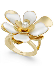 INC Gold-Tone Imitation Pearl Flower Statement Ring, Created for Macy's